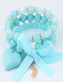 Lovely Blue Beads&bowknot Decorated Multi-layer Bracelet