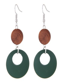 Lovely Brown+green Round Shape Decorated Long Earrings