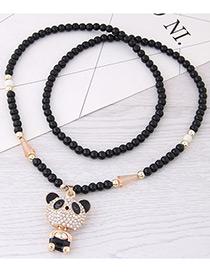 Fashion Gold Color+black Bear Pendant Decorated Long Necklace