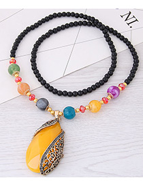 Fashion Yellow Water Drop Shape Pendant Decorated Necklace