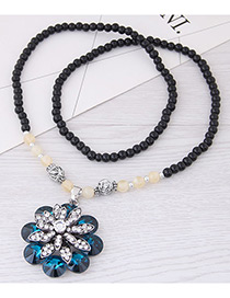 Fashion Darl Blue Flower Pendant Decorated Long Necklace