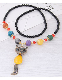 Fashion Yellow Fox Pendant Decorated Long Necklace