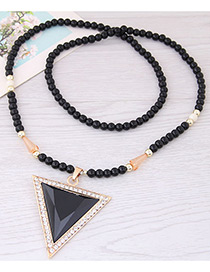 Fashion Black Triangle Shape Decorated Long Necklace