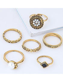 Fashion Gold Color Pearl&diamond Decorated Flower Shape Ring (6pcs)