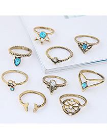 Fashion Blue+gold Color Wheel Shape Decorated Ring (9pcs)