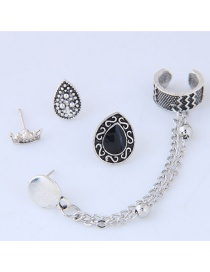 Fashion Antique Silver Crown&chains Decorated Pure Color Earrings (4pcs)
