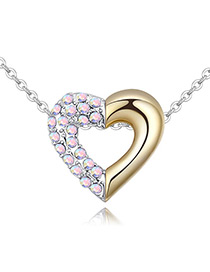 Fashion Multi-color Color-matching Decorate Heart Necklace