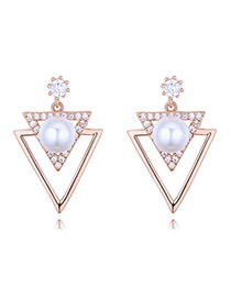 Elegant Rose Gold Triangle Shape Decorated Earrings