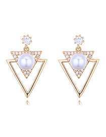 Elegant Gold Color Triangle Shape Decorated Earrings