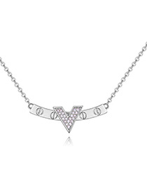 Elegant Silver Color V Shape Decorated Necklace