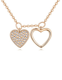 Elegant Gold Color Heart Shape Decorated Necklace