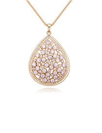 Elegant Gold Color Waterdrop Shape Decorated Necklace