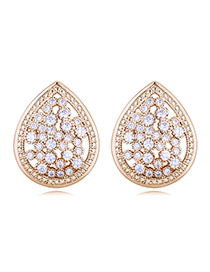 Elegant Gold Color Waterdrop Shape Decorated Earrings