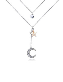 Elegant Gold Color Moon Shape Decorated Double-layer Necklace