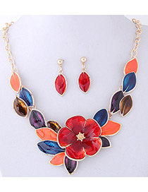 Fashion Multi-color Flower Shape Decorated Jewelry Sets