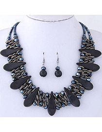 Fashion Black Water Drop Decorated Jewelry Set