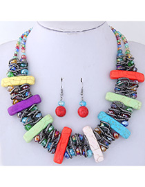 Fashion Multi-color Vertical Shape Decorated Jewelry Set
