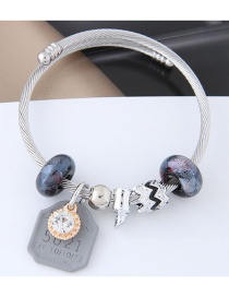 Fashion Silver Color+gray Bead Decorated Bracelet