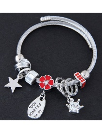 Fashion Silver Color+red Flower&star Shape Decorated Bracelet