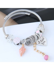 Fashion Silver Color+pink Heart Shape Decorated Bracelet