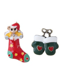 Fashion Multi-color Boots&gloves Shape Decorated Christmas Brooch