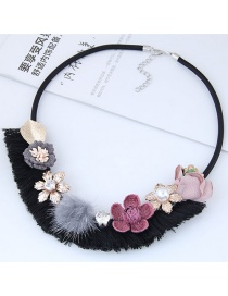 Fashion Pink+black+gray Flower Shape Decorated Necklace