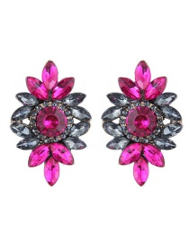 Fashion Gray+plum Red Diamond Decorated Flower Shape Earrings