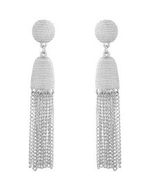 Trendy Silver Color Pure Color Decorated Tassel Earrings