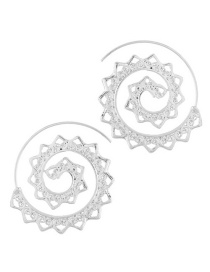 Trendy Silver Color Hollow Out Design Pure Color Earrings