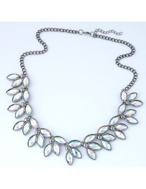 Trendy Multi-color Gemstone Decorated Leaf Shape Necklace