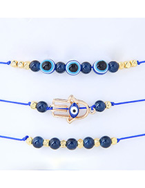 Trendy Navy Palm Shape Decorated Adjustable Bracelet (3pcs)
