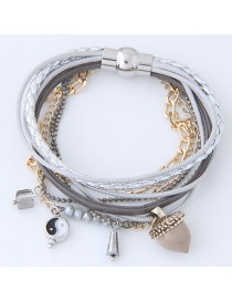 Personality Gray Color-matching Decorated Multilayer Bracelet