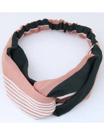 Fashion Pink+olive Green Stripe Pattern Decorated Headband