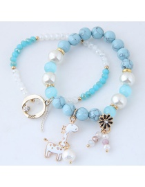 Fashion Blue Deer&flower Shape Decorated Bracelet