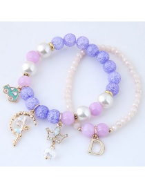 Fashion Purple Crown&carshape Decorated Bracelet