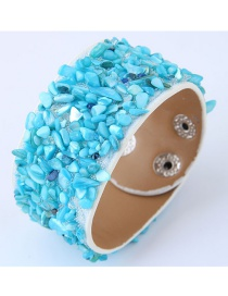 Fashion Navy Pure Color Decorated Width Bracelet