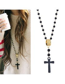 Fashion Black Cross Pendant Decorated Long Necklace