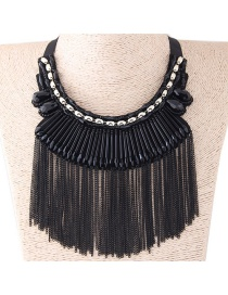Fashion Black Long Tassel Decorated Simple Necklace