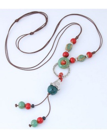 Bohemia Red+green Beads&circular Ring Decorated Long Necklace