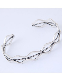 Fashion Silver Color Wave Shape Decorated Opening Bracelet