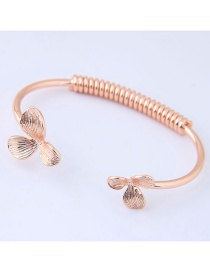 Fashion Rose Gold Flowers Decorated Opening Bracelet