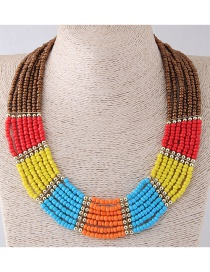 Fashion Red+brown Color Matching Decorated Necklace