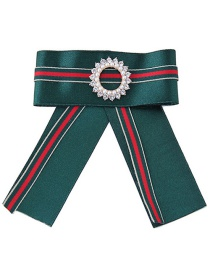 Fashion Olive Green+red Diamond Decorated Bowknot Brooch