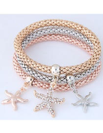 Fashion Silver Color+gold Color+rose Gold Starfish Shape Decorated Bracelet (3 Pcs)