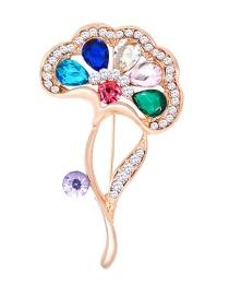 Fashion Multi-color Lotus Leaves Shape Decorated Brooch
