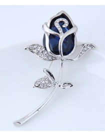 Fashion Blue+silver Color Flower Shape Decorated Brooch