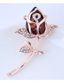 Fashion Brown+silver Color Flower Shape Decorated Brooch