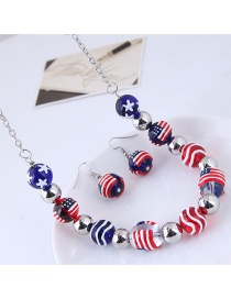Fashion Blue+red Round Shape Decorated Jewelry Sets