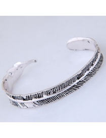 Fashion Silver Color Feather Shape Decorated Bracelets