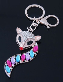 Fashion Multi-color Fox Shape Decorated Keychain